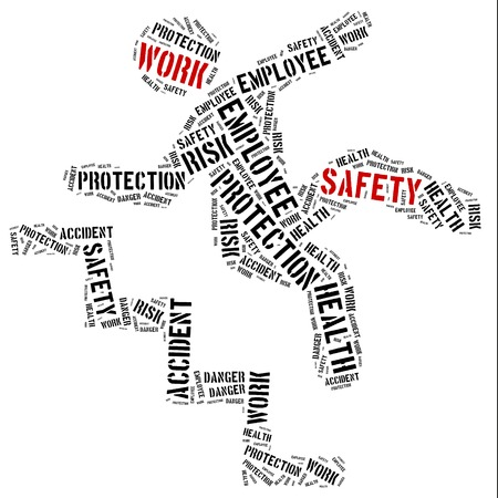 accident at work: Safety at work concept. Word cloud illustration.