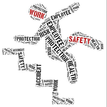 empleados trabajando: Seguridad en el concepto de trabajo. Ilustraci�n de la nube de Word.