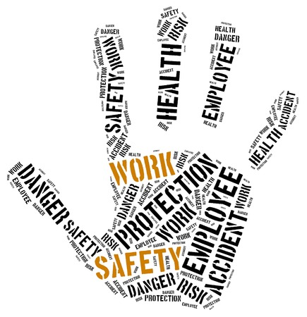 safety at work: Safety at work concept. Word cloud illustration.