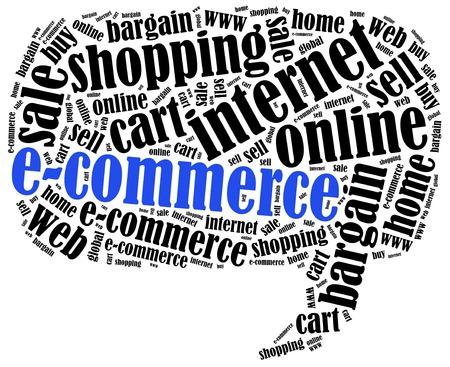 E-commerce or online shopping concept. Word cloud illustration. illustration