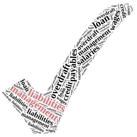 compromisos: Los activos y pasivos de gesti�n. Ilustraci�n de la nube de Word.