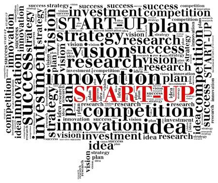 Business start-up concept. Word cloud illustration. illustration
