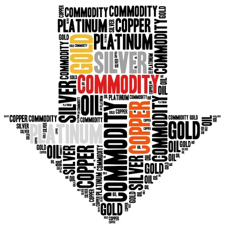 Commodity stock market or trading concept. Word cloud illustration.