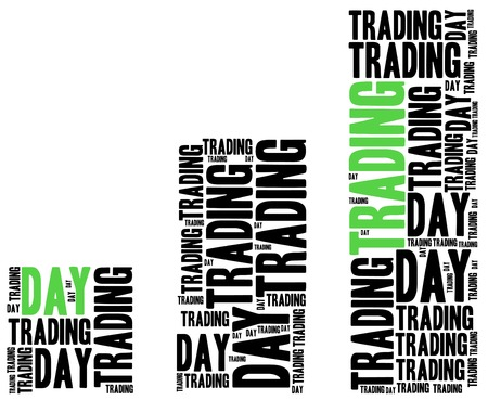 Day trading on stock market concept. Word cloud illustration. illustration