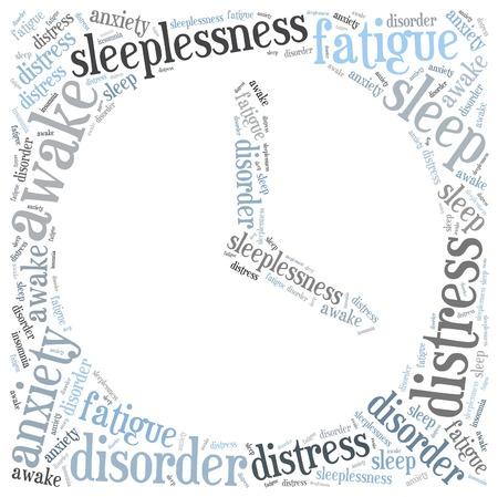 sleeplessness: Concetto di insonnia o insonnia. Word cloud illustrazione.