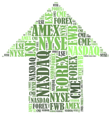 dax: Stock market or New York Stock Exchange trading concept. Word cloud illustration.