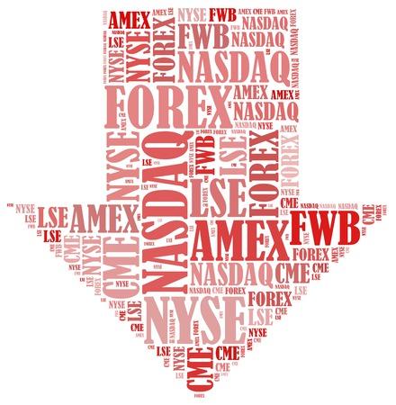 Stock market or New York Stock Exchange trading concept. Word cloud illustration. illustration