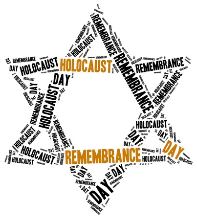 holocaust: Holocaust remembrance day. Word cloud illustration.