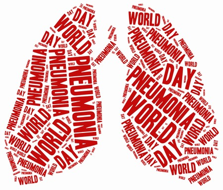 Word cloud illustration related to pneumonia. illustration