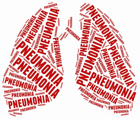 fibrosis: Word cloud illustration related to pneumonia. Stock Photo