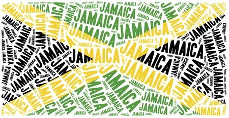 jamaica: National flag of Jamaica. Word cloud illustration.