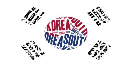 National flag of South Korea. Word cloud illustration. illustration