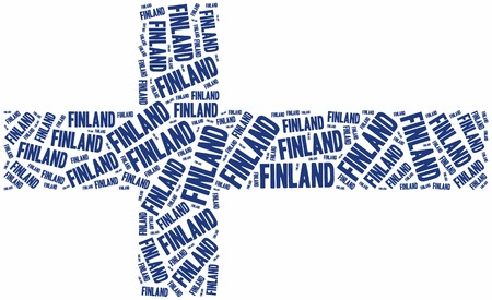 suomi: National flag of Finland. Word cloud illustration. Stock Photo