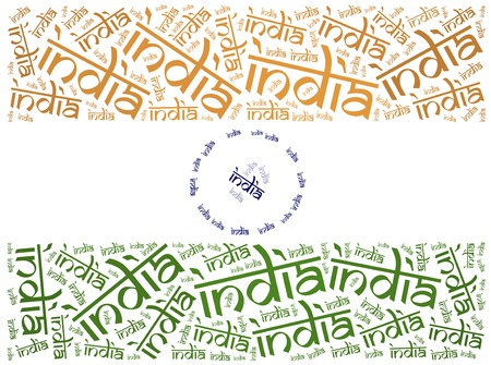 west indian: National flag of India. Word cloud illustration. Stock Photo