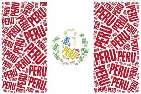 National flag of  Peru. Word cloud illustration. illustration