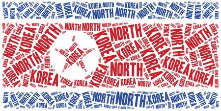 National flag of North Korea. Word cloud illustration. illustration