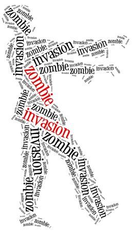 apocalypse: Zombie invasion or apocalypse concept. Word cloud illustration.
