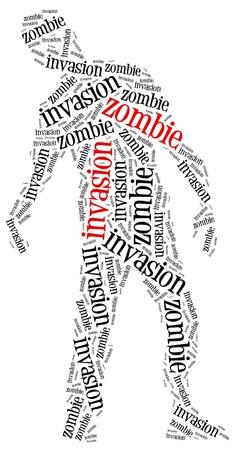 massacre: Zombie invasion or apocalypse concept. Word cloud illustration.