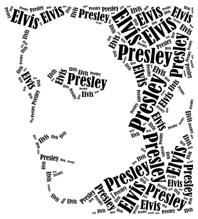 Elvis Presley portrait. Word cloud illustration. Editorial
