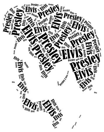 elvis: Elvis Presley portrait. Word cloud illustration. Editorial