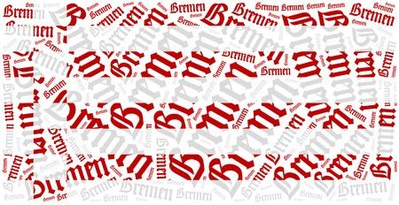 bremen: Flag of german state - Bremen. Word cloud illustration. Stock Photo