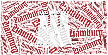 hamburg: Flag of german state - Hamburg. Word cloud illustration. Stock Photo