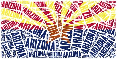 state of arizona: Flag of American state - Arizona. Word cloud illustration. Stock Photo