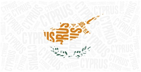 greek islands: National flag of Cyprus. Word cloud illustration.