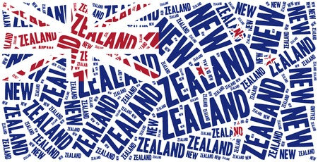 new zealand word: National flag of New Zealand. Word cloud illustration.