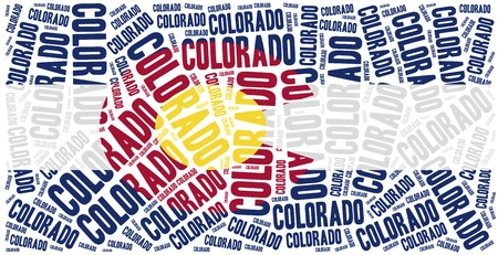 state of colorado: Flag of American state - Colorado. Word cloud illustration.