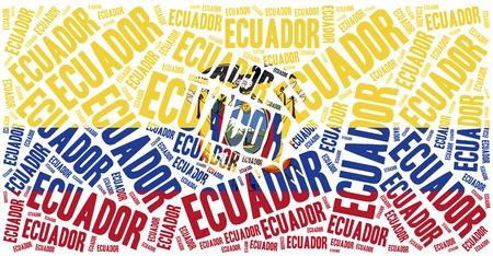 republic of ecuador: National flag of Ecuador. Word cloud illustration.