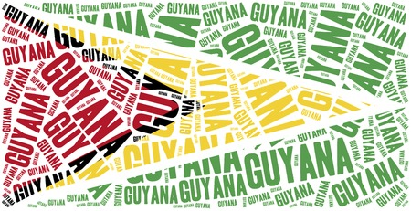 latin americans: National flag of Guyana. Word cloud illustration.