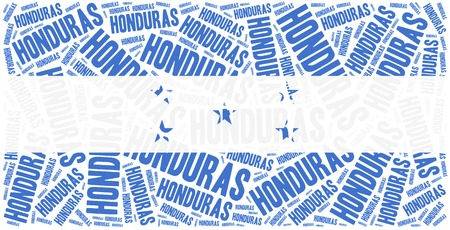 latin americans: National flag of Honduras. Word cloud illustration. Stock Photo