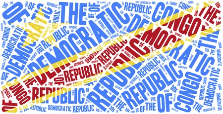 National flag of Democratic Republic of Congo. Word cloud illustration. illustration