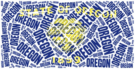 state of oregon: Flag of American state - Oregon. Word cloud illustration.