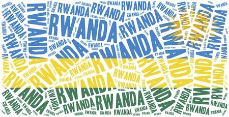 National flag of Rwanda. Word cloud illustration. illustration
