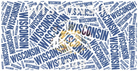 state wisconsin: Flag of American state - Wisconsin. Word cloud illustration. Stock Photo