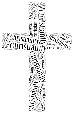 doctrine: Symbol of Christianity religion. Word cloud illustration.