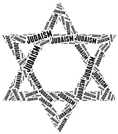 doctrine: Symbol of Judaism religion. Word cloud illustration. Stock Photo