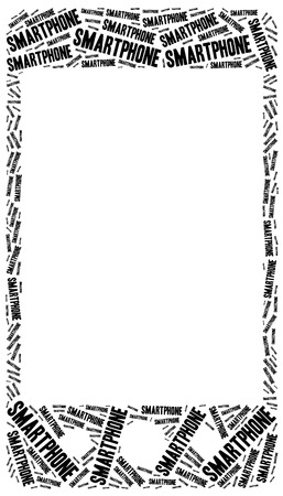 Smartphone or mobile device concept. Word cloud illustration. Empty space for text or photo. illustration