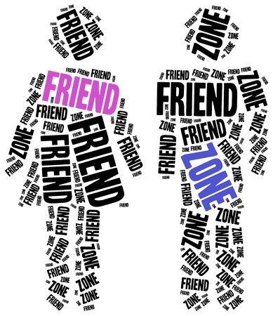 failed: Friend zone of failed relationship concept. Word cloud illustration.