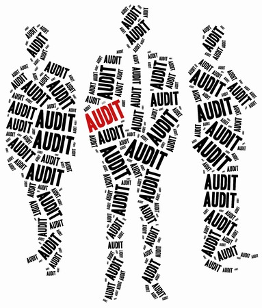 auditing: Audit or corporate controlling concept. Word cloud illustration.