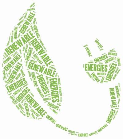 Renewables or renewable energies concept. Word cloud illustration. Stock Photo