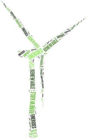 renewables: Renewables or renewable energies concept. Word cloud illustration. Stock Photo