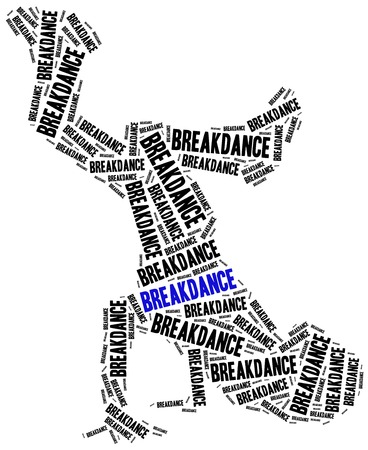 breakdancing: Breakdancing concept. Word cloud illustration.