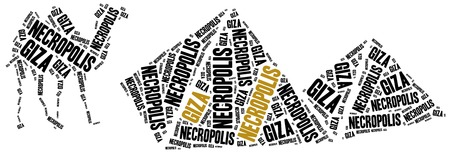 cheops: Giza Necropolis in Egypt. Landmark concept. Word cloud illustration.
