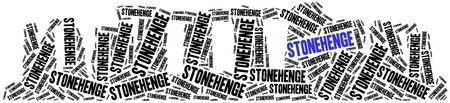 stonehenge: Stonehenge in England, United Kingdom. Landmark concept. Word cloud illustration.