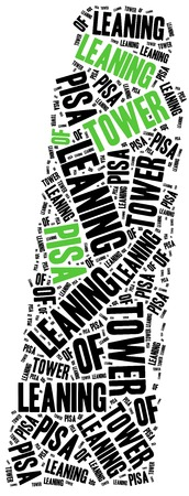 leaning tower: Leaning tower of Pisa, Italy. Landmark concept. Word cloud illustration.