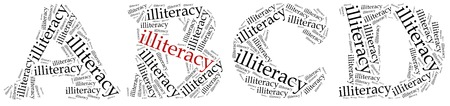 illiteracy: Illiteracy problem concept. Word cloud illustration.
