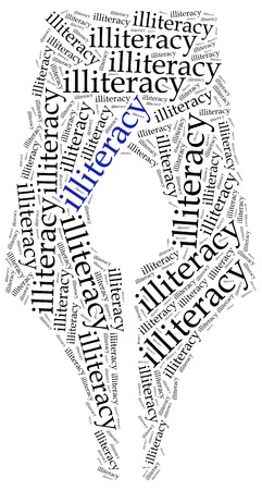 illiteracy: Concepto del problema del analfabetismo. Ilustraci�n de la nube de Word. Foto de archivo